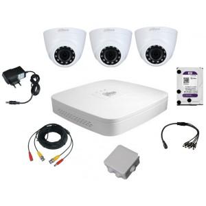 Комплект видеонаблюдения для самостоятельной установки Dahua на 3 внутренние камеры на 2 Мп
