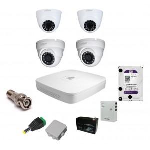 Комплект видеонаблюдения Dahua на 2 внутренние и 2 наружные камеры на 2 Мп
