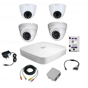 Комплект видеонаблюдения для самостоятельной установки Dahuaна  4 камеры на 2 Мп